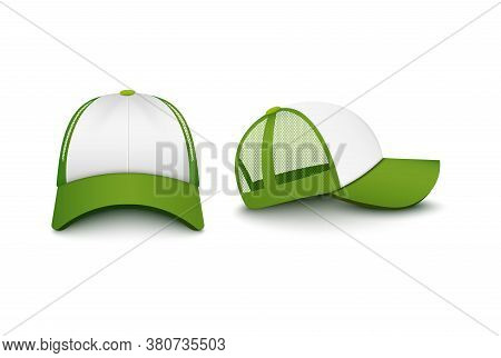 Trucker White Cap With Visor Front And Back Mockup Vector Illustration Isolated.