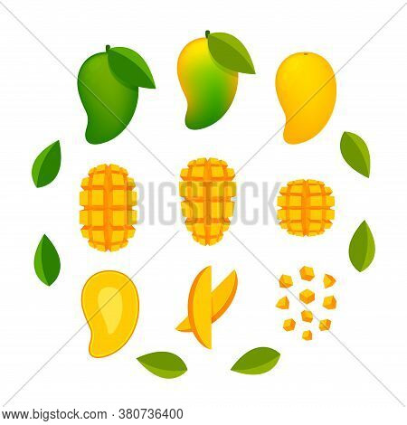 Mango Ripe And Slice Isolated On White, Yellow Mango Slice Half Cut Piece