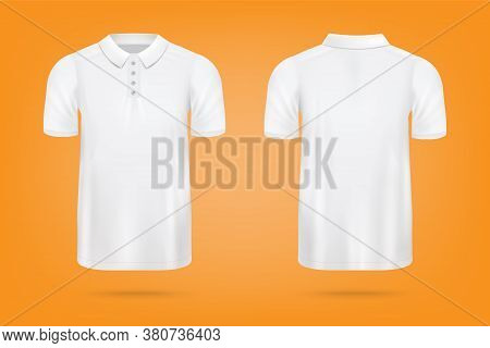 Realistic White Polo Shirt Mockup From Front And Back View O