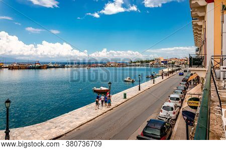 Gytheio / Greece - July 17 2017: View Of The Waterfront And The Gulf Of Gytheio, In Laconian Mani, P