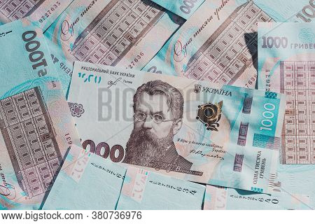 Ukrainian Hryvnia In The Face Value Of One Thousand Hryvnias, Texture Of One Thousand Hryvnia Bankno