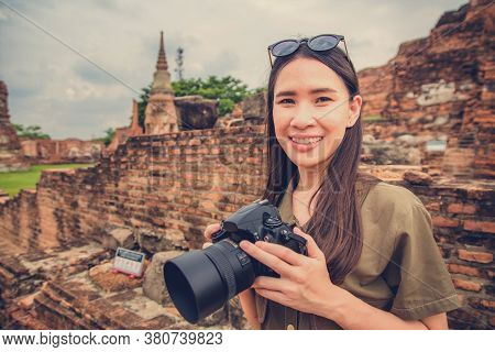 Asian Women Travel In Southeast Asia Ayuttaya Thailand,outdoor New Normal Social Distancing