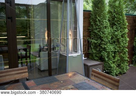 Patio With A Gas Heater, Outdoor Exterior Shot
