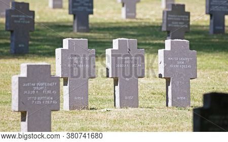 Luxembourg, Luxembourg On July 21, 2020; Graves In The Sandweiler German War Cemetery In Luxembourg