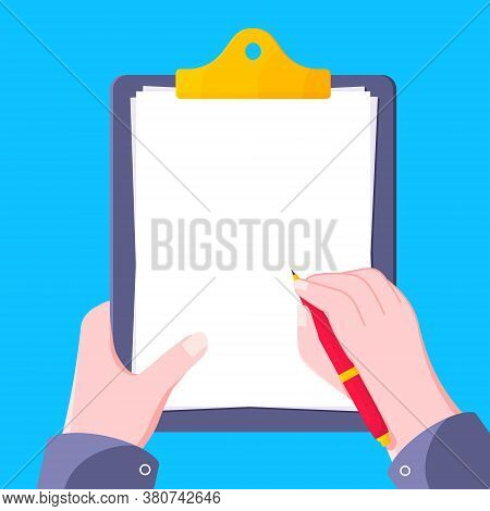 Hand Hold Clipboard With Blank Form Flat Style Design Icon Sign Vector Illustration Isolated On Whit