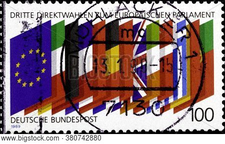 02 10 2020 Divnoe Stavropol Territory Russia The Postage Stamp Germany 1989 Third Direct Elections T
