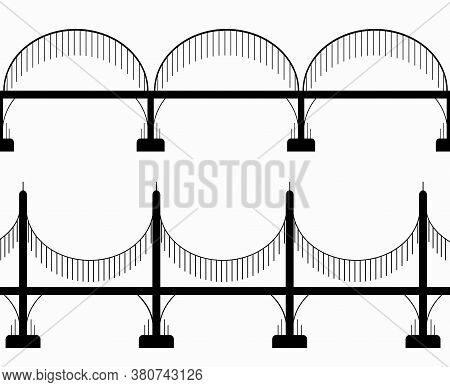 Set Of Various Seamless Black Silhouette Bridges On Columns. City Communications. The Intersection O