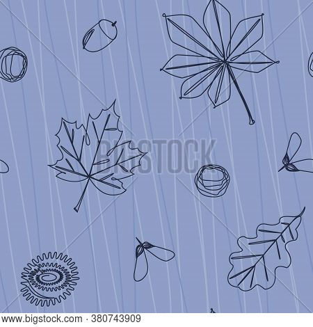 Minimalistic Seamless Pattern Of Falling Leaves And Tree Fruits. Maple, Oak And Chestnut Leaves. Fla