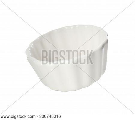 Clean Empty Ceramic Ramekin Isolated On White