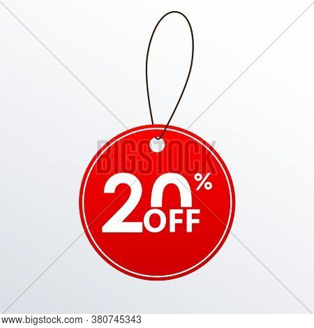 20% Off. Discount Or Sale Price Tag.  Save 20 Percent Icon. Vector Illustration.