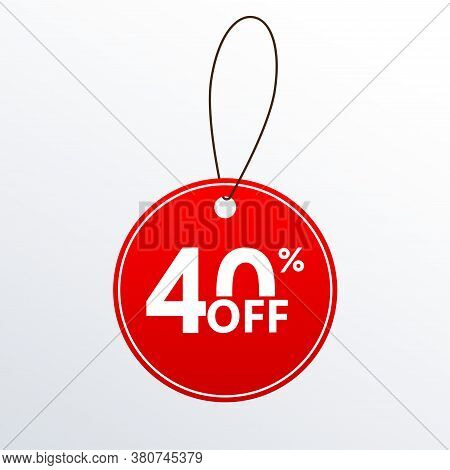 40% Off. Discount Or Sale Price Tag.  Save 40 Percent Icon. Vector Illustration.