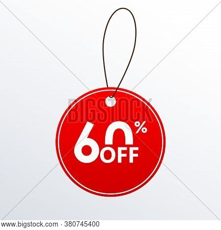 60% Off. Discount Or Sale Price Tag.  Save 60 Percent Icon. Vector Illustration.