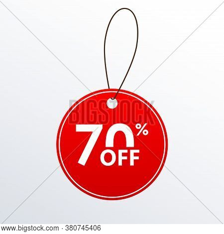 70% Off. Discount Or Sale Price Tag.  Save 70 Percent Icon. Vector Illustration.