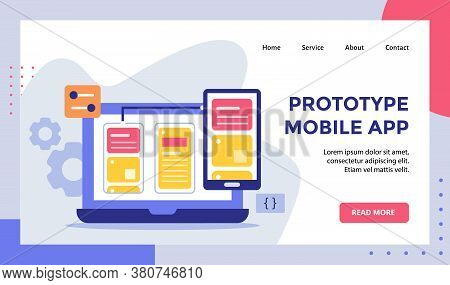 Prototype Mobile App Wireframe On Monitor Laptop Smartphone Campaign For Web Website Home Homepage L