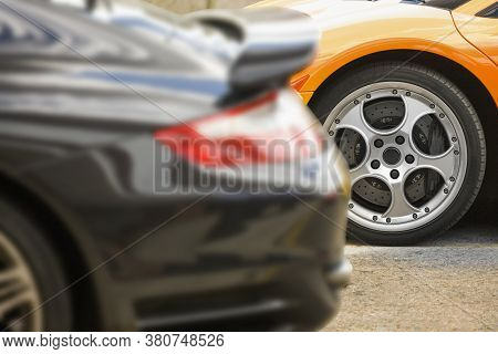 Cropped Shot Of A Sports Car Wheel