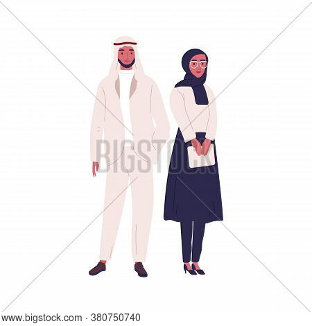 Muslim Couple Of Arabian People Wearing Traditional Modern Outfit. Woman In Hijab Holding Tablet. Sa