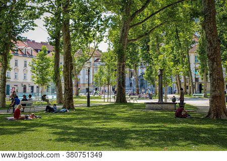 Ljubljana, Slovenia - July 16th 2018: The Park At Congress Square In The Center Of Ljubljana On A Su