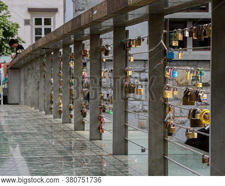 Ljubljana, Slovenia - July 16th 2018: Padlocks On Butchers Bridge In The Old Medieval Town In Ljublj