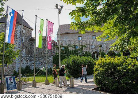 Ljubljana, Slovenia - July 16th 2018: The Entrance To Ljubljana Castle Or Ljubljanski Grad, In The A