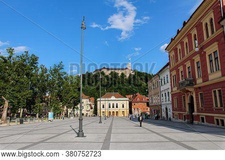 Ljubljana, Slovenia - July 16th 2018: Ljubljana, Slovenia - July 16th 2018: The Park At Congress Squ