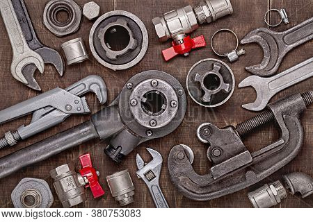 Home Set Of Plumbing Tools For Repair, Diy. Tools For Every Day. Father's Day And Other Men's Holida