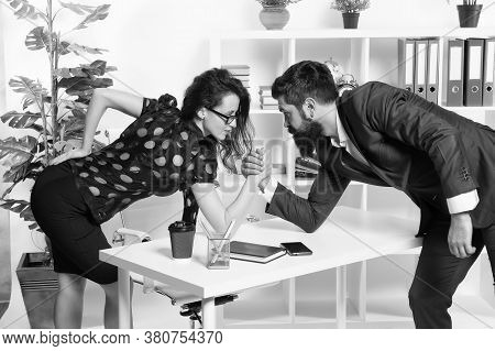 Dont Give Up. Business Competition. Bearded Man And Sexy Woman Compete In Business. Professional Cou