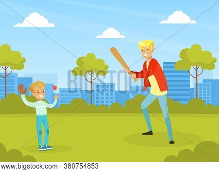 Father Playing Baseball With His Son In City Park Outdoor, Active Holidays, Kid Summer Outdoor Activ