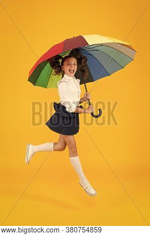 Fashion Accessory. Umbrella Protective Shield. Girl With Umbrella. Rainy Day Walks. Happy Childhood.