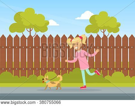 Cute Girl Walking With Dog Outdoor, Kid Summer Outdoor Activity Cartoon Vector Illustration