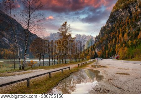 Monte Cristallo Mountains in Dolomites at sunrise, South Tyrol. Italy