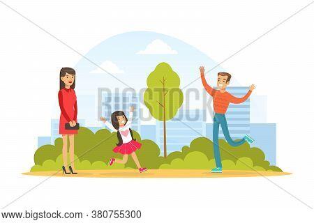 Family Walking In Park Outdoor, Cute Little Girl Running To Hug Her Daddy, Kid Summer Outdoor Activi