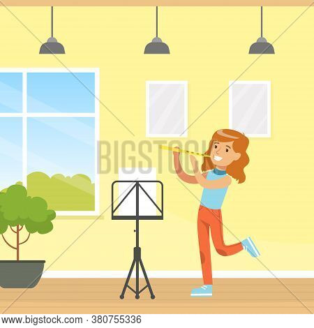 Cute Girl Playing Flute, Kid Education And Hobby Cartoon Style Vector Illustration