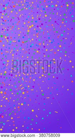 Festive Decent Confetti. Celebration Stars. Festive Confetti On Violet Background. Grand Festive Ove