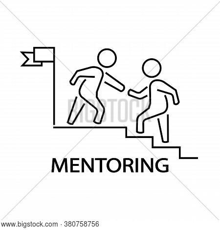 Icon Of Mentoring And Helping Another Person. Vector Illustration Eps 10