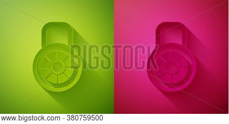 Paper Cut Safe Combination Lock Icon Isolated On Green And Pink Background. Combination Padlock. Sec