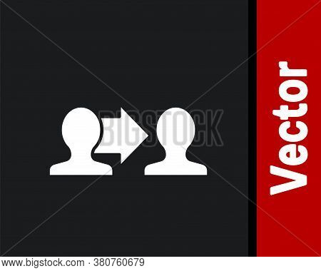 White Project Team Base Icon Isolated On Black Background. Business Analysis And Planning, Consultin