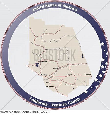 Round Button With Detailed Map Of Ventura County In California, Usa.