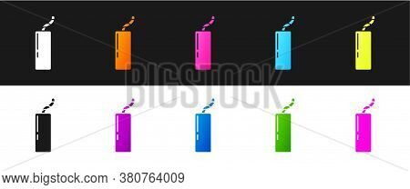 Set Detonate Dynamite Bomb Stick And Timer Clock Icon Isolated On Black And White Background. Time B
