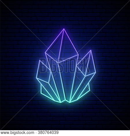 Crystal Neon Sign. Blue Glowing Crystal Emblem. Concept Of Growing Minerals Or Crystals In Neon Styl