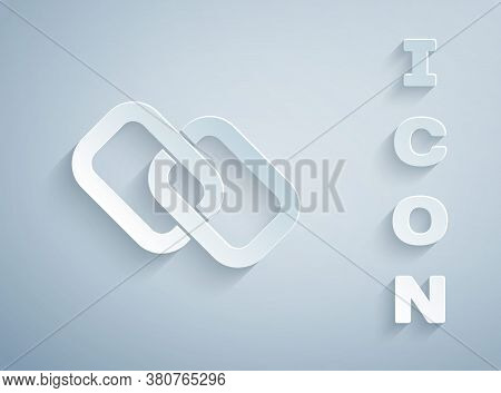 Paper Cut Chain Link Icon Isolated On Grey Background. Link Single. Hyperlink Chain Symbol. Paper Ar