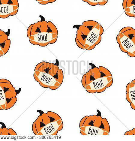 Corona Halloween Pumpkin Seamless Vector Pattern. Pumpkins Wearing Face Masks. Covid 19 Virus Hallow
