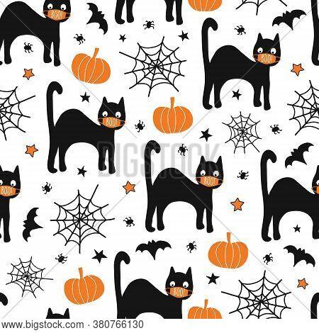 Halloween Black Cat Wearing Face Mask Seamless Vector Pattern. Corona Halloween 2020 Repeating Backg