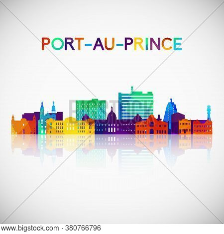Port-au-prince Skyline Silhouette In Colorful Geometric Style. Symbol For Your Design. Vector Illust