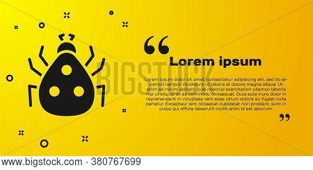 Black Ladybug Icon Isolated On Yellow Background. Vector
