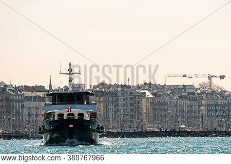 Geneva, Switzerland - April 14, 2019: Cgn Boat On Lake Geneva. Lake Geneva General Navigation Compan