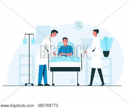 Doctor Helping A Patient In A Hospital Ward. Two Doctors Cheking On A Patient During The Hospital Ro