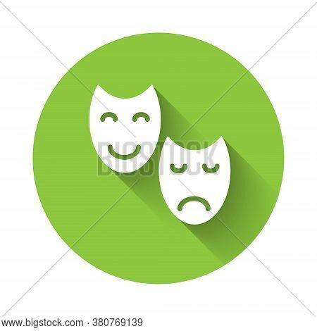 White Comedy And Tragedy Theatrical Masks Icon Isolated With Long Shadow. Green Circle Button. Vecto