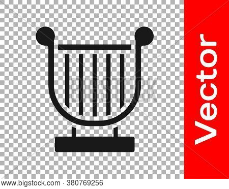 Black Ancient Greek Lyre Icon Isolated On Transparent Background. Classical Music Instrument, Orhest