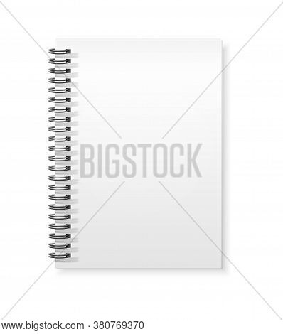 Vector Spiral Rings Notebook Copybook White Mockup