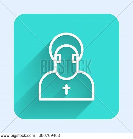 White Line Monk Icon Isolated With Long Shadow. Green Square Button. Vector